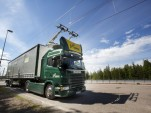 """Scania hybrid truck concept designed for """"electric highway"""""""
