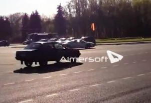 Screencap from video showing Audi R8 hit-and-run