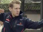 Sebastian Vettel shows his kung fu moves.