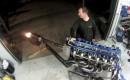 Six-rotor race engine spits flames