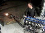Six-rotor race engine spits flames