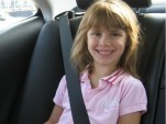 Sophie and her carseat fit nicely in the back seat of the HS250h