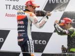 Stoner sprays Dovizioso on Assen MotoGP podium- Bridgestone photo