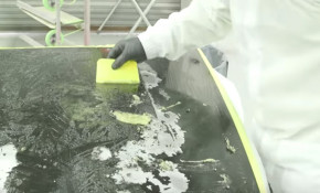 Stripping the paint from a car is a gruesome process