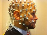 Subject ready for EEG recording (photo by Petter Kallioinen)