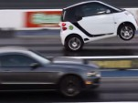 Supercharged Smart car does wheelie