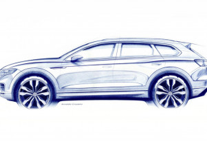 Teaser for 2018 Volkswagen Touareg debuting on March 23, 2018