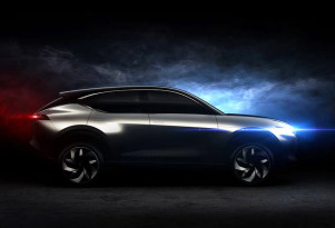 Teaser for Hybrid Kinetic K350 concept debuting at 2018 Beijing auto show
