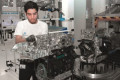 Technician assembling EA888 engine at Volkswagen engine plant in Silao, Mexico