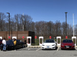 Tesla electric cars at Supercharger fast-charging site, TK  [photo: Jay Lucas]