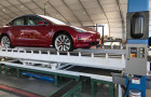 Tesla Model 3 all-wheel drive Performance rolls off a new assembly line in a temporary structure