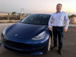 Tesla Model 3 with BMW i3 driver Tom Moloughney, Dec 2017  [photo: Tom Moloughney]