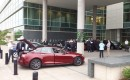 Tesla Model S on display outside Great River Energy headquarters, courtesy of Minnesota PEV Owners