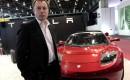 Tesla Motors CEO Elon Musk with Tesla Roadster