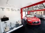 Tesla Motors 'popup store' to display electric cars, Santa Barbara, CA, May 2015