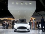 Tesla Motors stand at 2014 Detroit Auto Show