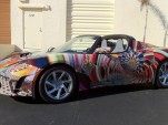 Tesla Roadster art car by Laurence Gartel