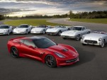 The 2014 Corvette Stingray poses with its elders - image: GM Corp