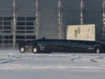 The Dutch-built electric Superbus in the snow.