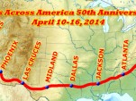 The route for Mustangs Across America's 50th Anniversary tour