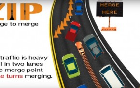 The zipper merge from a video by the Kansas Department of Transportation