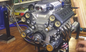This 1/3-scale V-10 engine actually works