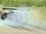 This Aston Martin Vulcan attacks a hill climb event with big smokey burnouts