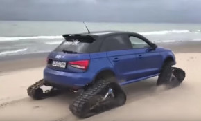 This is an Audi S1 on tracks