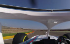 This is the view of the Formula One halo from the driver's seat