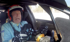 Tiff Needell behind the wheel of a Tesla Model S race car