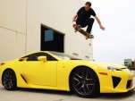 Tony Hawk jumping over an LFA supercar loaned to him by Lexus