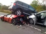 Tesla Roadster, Toyota Prius, VW Touareg Crash in Denmark