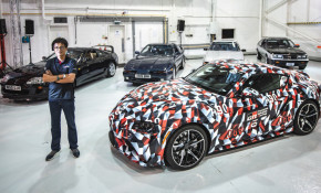 Tetsuya Tada with A90 Toyota Supra and previous four generations