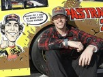 Travis Pastrana and his Waltrip Racing NASCAR race car