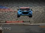 Travis Pastrana jumps his Dodge Dart rallycross car at Texas Motor Speedway. Image via Facebook.