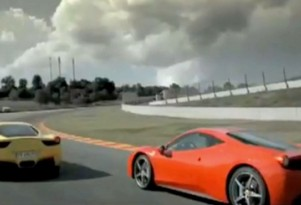 Two Ferrari 458 Italias battle it out on track