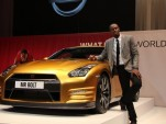 Usain Bolt and his personal gold Nissan GT-R