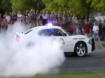 Utah Highway Patrol car does burnout for charity