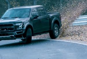Vaughn Gittin Jr drifts the Nürburgring in a Ford Raptor