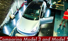 Video review of 2017 Tesla Model 3 electric car by Matt Pressman, Evannex [frame from YouTube video]