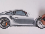 Watch a drawing of a Porsche 911 GT2 RS come to life