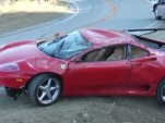 Wreckage of a Ferrari 360 Modena that crashed on Mulholland Drive