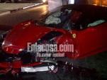Wreckage of a Ferrari 458 Italia that crashed in the Dominican Republic