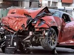 Wreckage of a Ferrari 599 GTO involved in a crash in Singapore