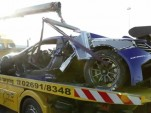 Wreckage of a Gemballa Racing McLaren MP4-12C GT3
