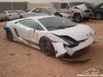 Wreckage of a Lamborghini Gallardo LP 570-4 Superleggera that crashed in Riyadh, Saudi Arabia