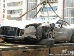Wreckage of Aston Martin One-77 that crashed in Hong Kong - Image courtesy Weibo