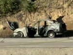 Wreckage of car that exploded in eastern San Diego County