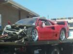Wreckage of Ferrari F40 that crashed in Houston, Texas