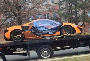 Wreckage of McLaren P1 that crashed in Washington, D.C. - Image via Imgur